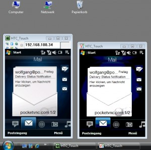 two VNC client windows showing the desktop of a remote Windows Mobile smartphone
